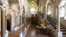 The glorious reception area at Abbaye de la Bussiere, Dijon, France