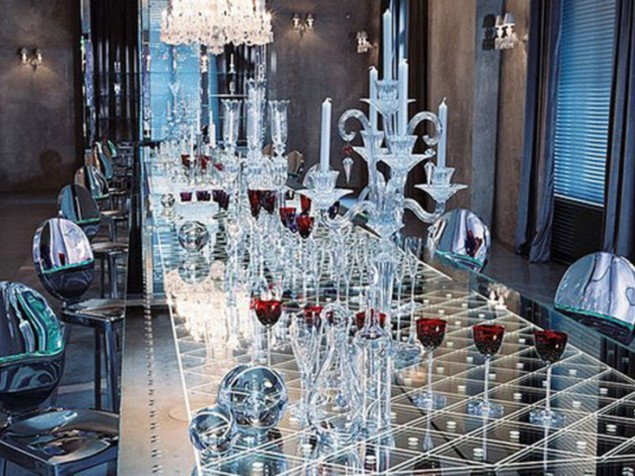 Galleries of modern furniture and reflective surfaces show off the ageless Baccarat
