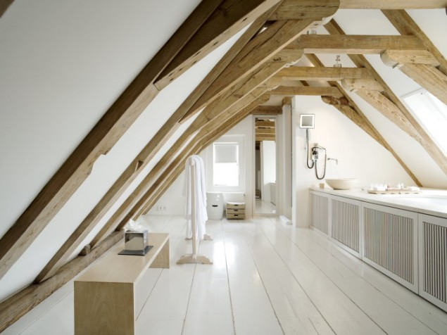 A clever use of attic space in this guest bathroom, nicely tucked beneath the rafters
