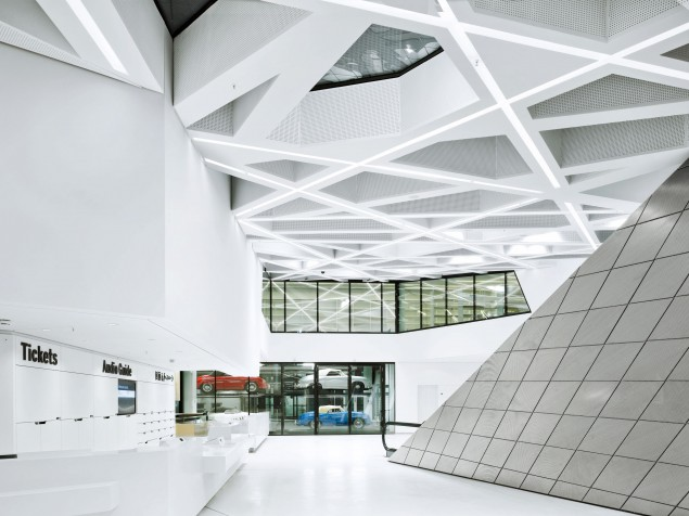 The asymmetrical forms and angles of the lobby offer a dramatic reception setting