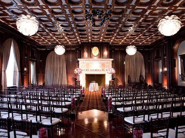 The unique architecture of the ballroom stands out with understated event design