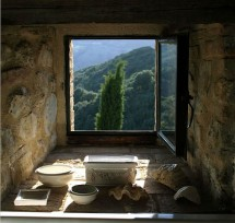 A window seat for peaceful reflection, set within the thick medieval castle walls