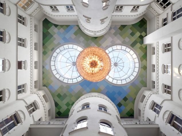 An uplifting perspective from the great Atrium at Nobis Hotel, Stockholm
