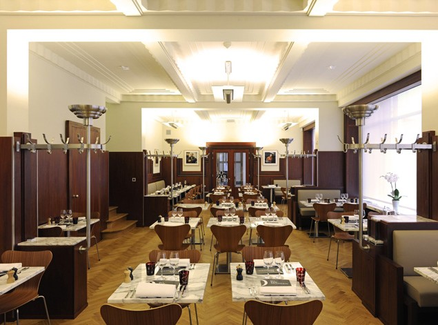 The stylish Bozar Brasserie is a great social space and visual partner to Bozar's design