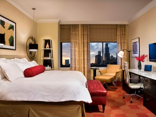 Contemporary guest rooms with an artistic edge enhance this historic hotel on Michigan Avenue