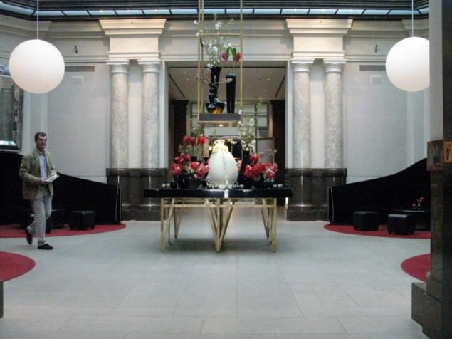 The lobby of a 19th century bank is now the lobby of Berlin's exclusive Hotel de Rome