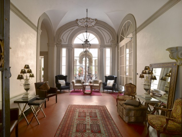 The vaulted ceiling of the lobby adds to the elegance of this intimate palazzo