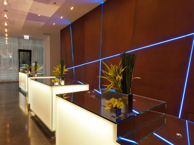 "The modern shapes and colors of the lobby, with a touch of ""Blu"""