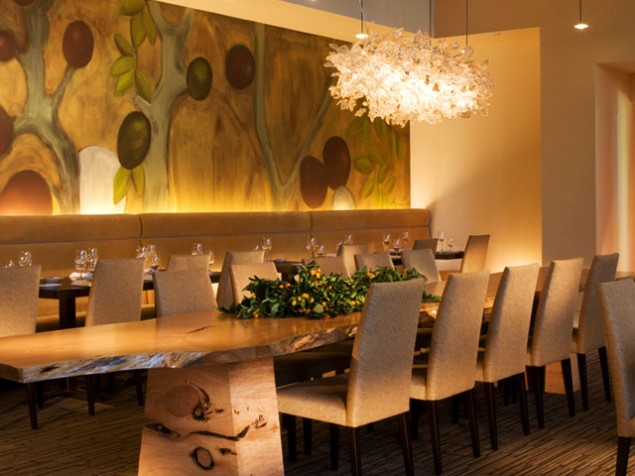 The Lucy Restaurant, featuring dining tables created from reclaimed timbers