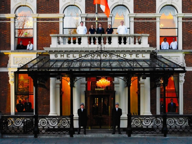 The Shelbourne's main entrance for a century and today