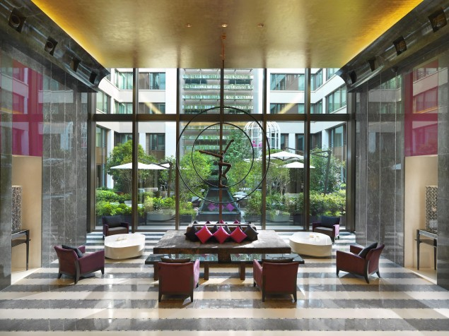 The Mandarin's modern lobby is enhanced by its window-walls and garden views