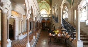 The glorious reception area of Abbaye de la Bussiere