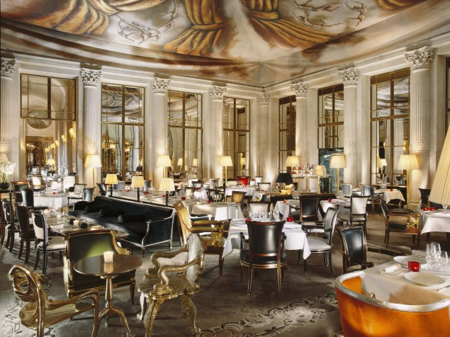 Restaurant Le Dali with its surrealistic Dalianesque ceiling, painted by Ara Starck