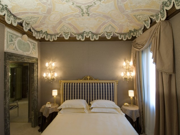 The lovely lacy appearance of the historic plaster ceilings in the Stuccoes Suite