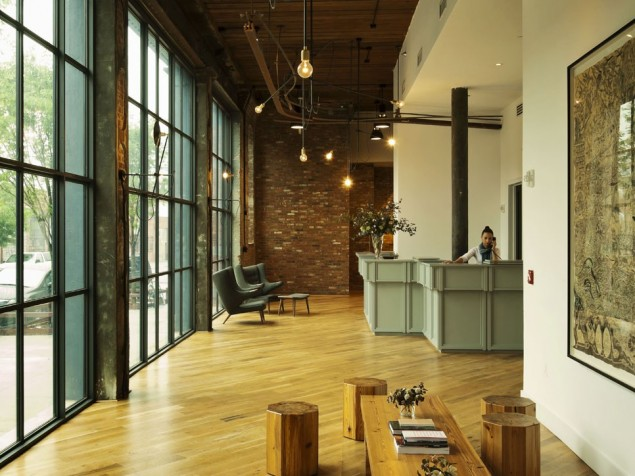 Friendly, sustainable design includes original brick, reclaimed wood and LED lighting