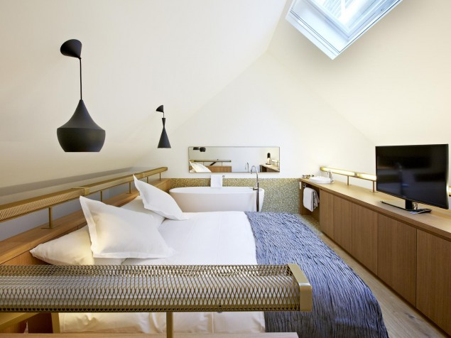 Modern Swiss design takes charge of this light-filled room at the top