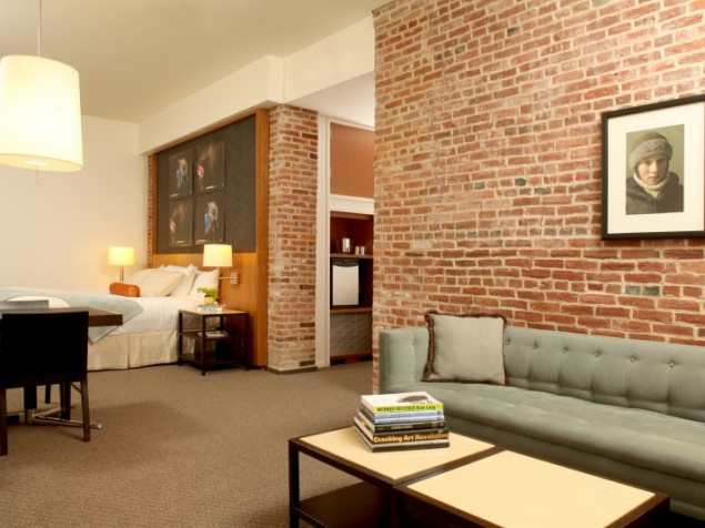 The suites at 21c feature original brickwork and understated modern furnishings
