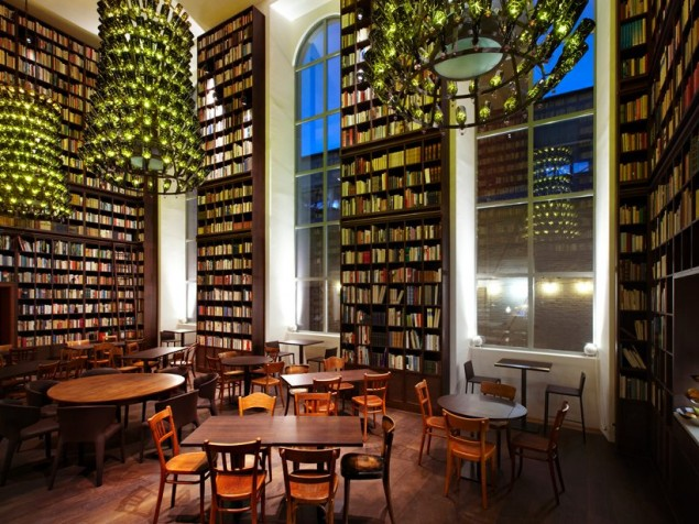 The heart of B2 is the Library, with its modern chandeliers and floor-to-ceiling books