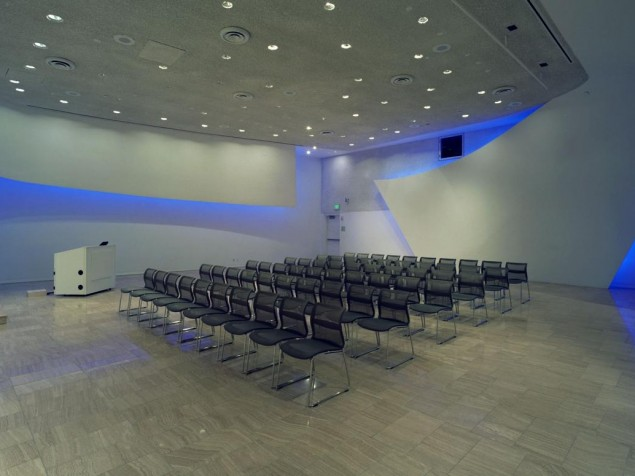 A sleek modern meeting room complete with high-tech bells and whistles