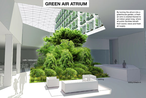 The Green Air Hotel transforms an outdated hotel building into a garden of greenery that breathes fresh air to guests and staff.
