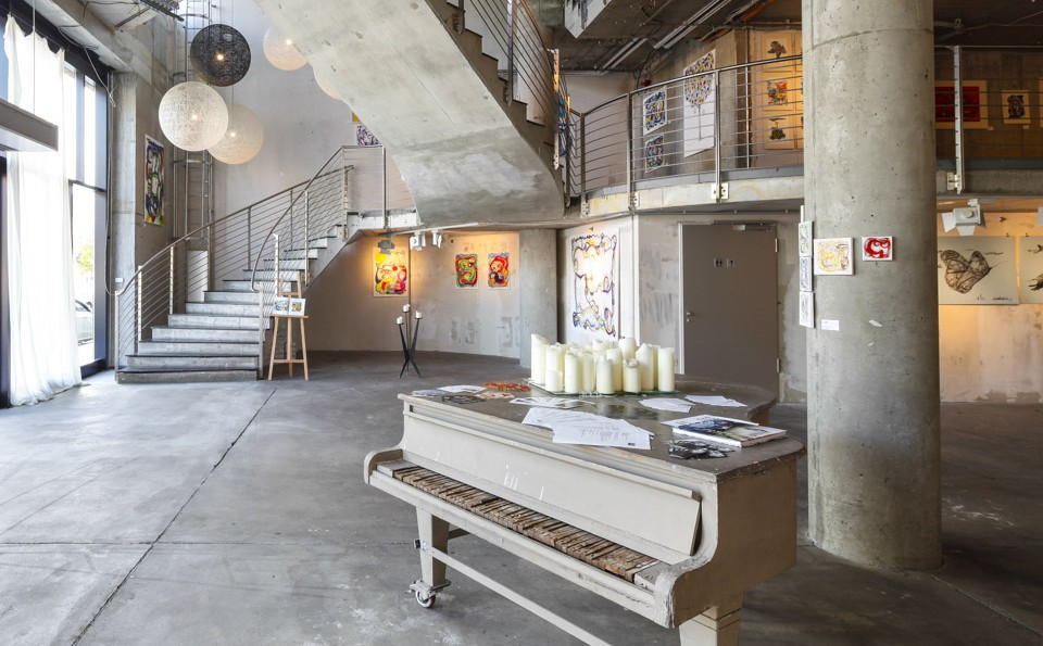 This post modern concrete staircase, along with a nice minstrel's gallery, dresses stage the for the post modern musician at nHow Berlin