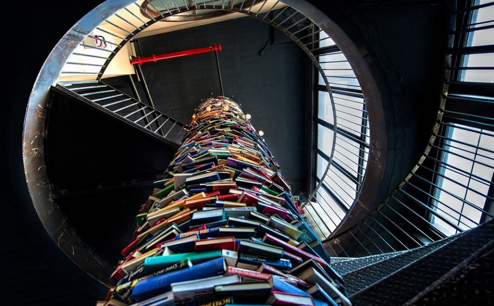 Long live the printed word and this amazing column of books, repurposed around the spiral staircase at Paper Factory Hotel, Long Island City