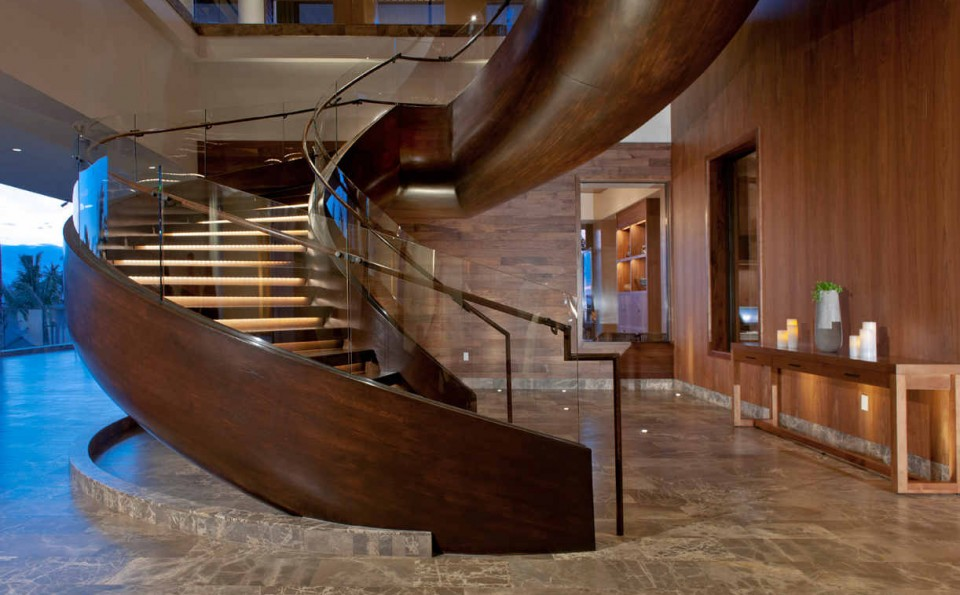 This prominent yet toned down stairway at Andaz Maui at Wailea Resort draws inspiration from the smooth contours of a canoe