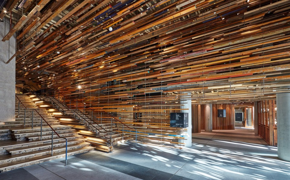 This totally unique entrance stair to seriously sustainable Hotel Hotel Canberra makes pretty creative use of reclaimed timbers