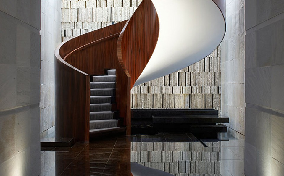Dynamic design duo Yabu Pushelberg create a timeless elegant design statement, that also happens to be a staircase, at Las Alcobas, Mexico City