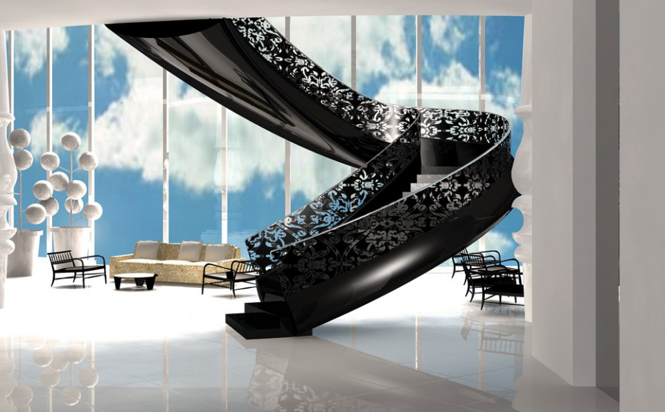 "A cool, bright white palette, ""see through"" black lace railing, and a curvy spine all make for one hot stairway at Mondrian South Beach"