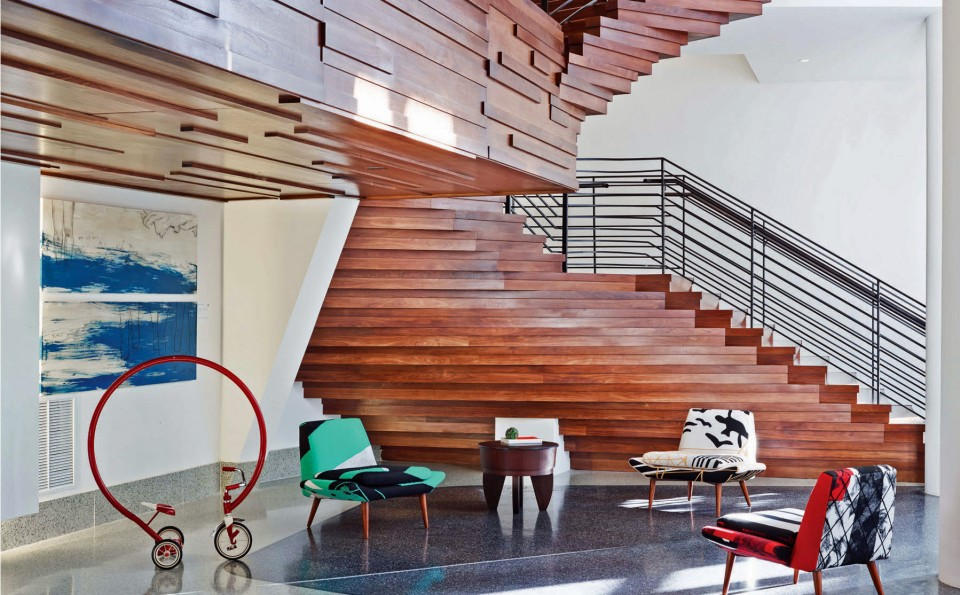 This thoroughly modern staircase stacks up nicely with Mid-century modern at this Miami landmark that is now Royal Palm South Beach