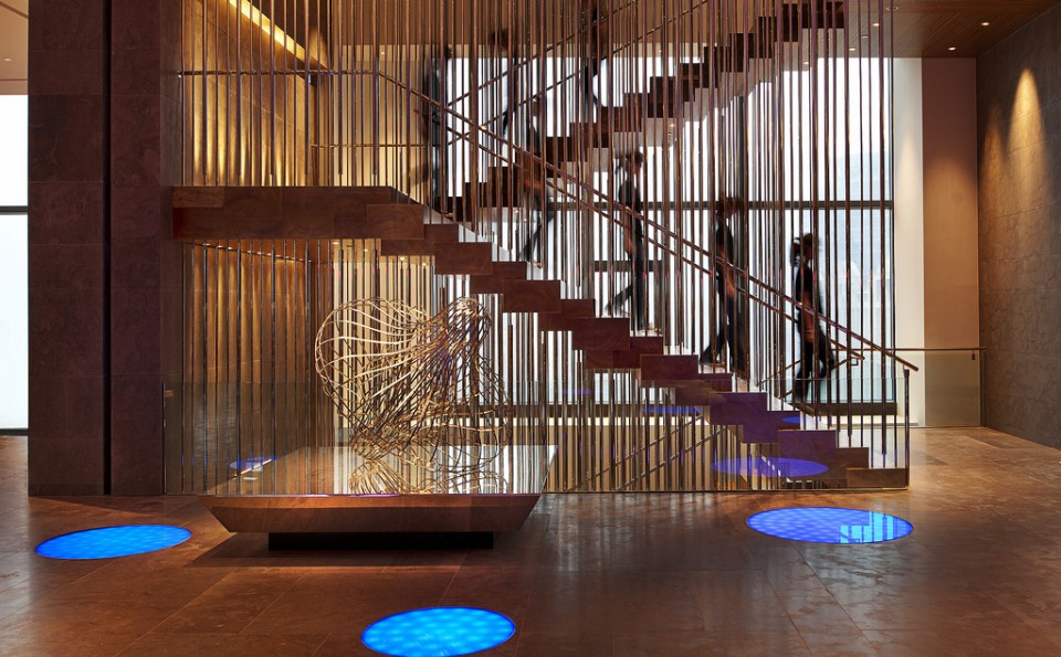 Art in motion defines the screen-like stair at W Taipei, while evoking serenity and the unparalled, refined elegance of Asian culture